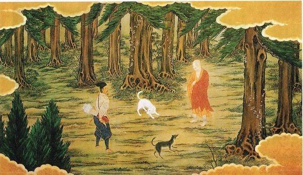 空海と猟師と2匹の犬